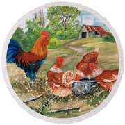 Poultry Peckin Pals Round Beach Towel