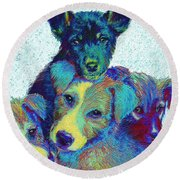 Pound Puppies Round Beach Towel by Jane Schnetlage