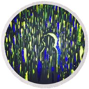 Pouring Rain And Light Round Beach Towel