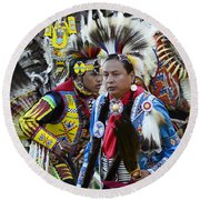 Pow Wow Back In Time 1 Round Beach Towel