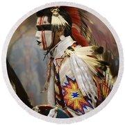 Pow Wow First Nation Dancer Round Beach Towel