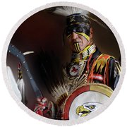 Pow Wow Portrait Of A Proud Man 2 Round Beach Towel