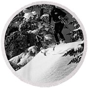 Powder Hound Bw Version Round Beach Towel
