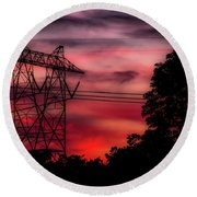 Power In Red Round Beach Towel