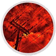 Power Line - Asphalt - Water Puddle Abstract Reflection 02 Round Beach Towel