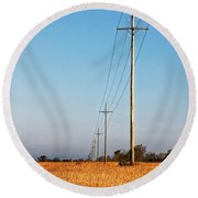 Power Lines At Sunrise Round Beach Towel