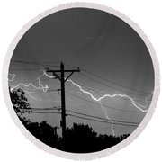 Power Lines Bw Fine Art Photo Print Round Beach Towel