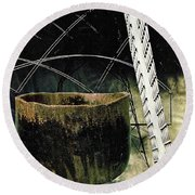 Power Lines Round Beach Towel by Sarah Loft