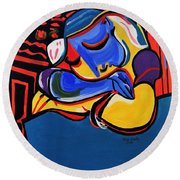 Power Nap  Picasso By Nora Round Beach Towel