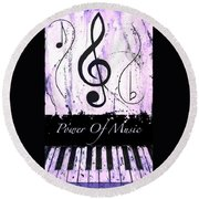 Power Of Music Purple Round Beach Towel