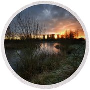 Power Plant Sunrise 1.0 Round Beach Towel