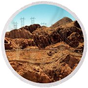 Power Transport From Hoover Dam Round Beach Towel