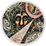 Powered Visions Of Mortal Round Beach Towel
