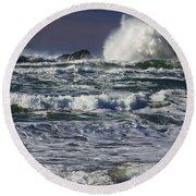 Powerful Waves Crash Ashore Round Beach Towel