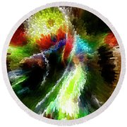 Powwow Dancer Abstract Round Beach Towel