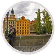 Prague Accordian Player On Charles Bridge Round Beach Towel