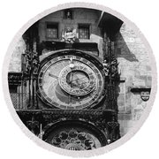 Prague Astronomical Clock 1410 Round Beach Towel