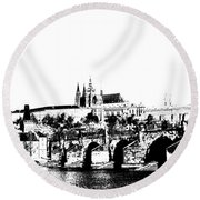 Prague Castle And Charles Bridge Round Beach Towel