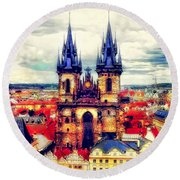 Prague Church Of Our Lady Before Tyn Watercolor Round Beach Towel
