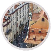 Prague Red Rooftops In The Old Town Round Beach Towel