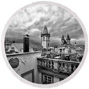 Prague View From The Top Round Beach Towel