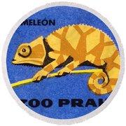 Prague Zoo Chameleon Matchbox Label Round Beach Towel