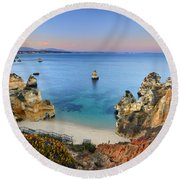 Praia Do Camilo At Sunset  Round Beach Towel