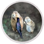 Prairie Dogs And A Bird Eating Round Beach Towel