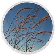 Prairie Grass Landscape Round Beach Towel
