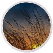 Prairie Grass Sunset Patterns Round Beach Towel