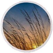Prairie Grass Sunset Round Beach Towel