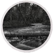 Prairie River Crossing Log Square Format Round Beach Towel