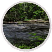 Prairie River Log Jam Round Beach Towel