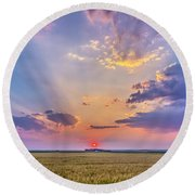 Prairie Sunset With Crepuscular Rays Round Beach Towel