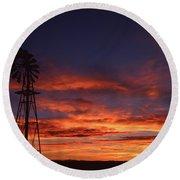 Prairie Sunset With Windmill Round Beach Towel
