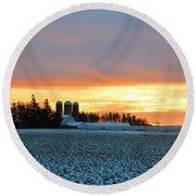 Prairie Winter Sunrise Round Beach Towel
