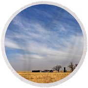 Prarie House Round Beach Towel