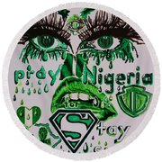 Pray For Nigeria Round Beach Towel