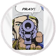 Pray Round Beach Towel