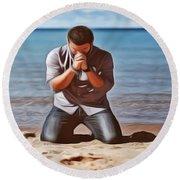 Prayer Round Beach Towel