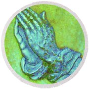 Prayer 3 Round Beach Towel
