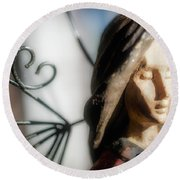 Prayerful Angel Round Beach Towel
