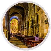 Prayers In The Cathedral Round Beach Towel