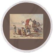 Prayers In The Desert Round Beach Towel