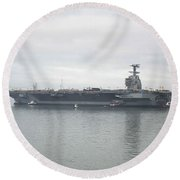Pre-commissioning Unit Gerald R. Ford Round Beach Towel