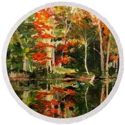 Prentiss Pond, Dorset, Vt., Autumn Round Beach Towel