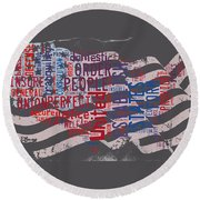 Preamble To The Constitution On Us Map Round Beach Towel