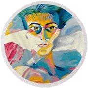 Preciada Azancot Self-portrait With A Dove Round Beach Towel