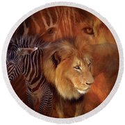 Predator And Prey Round Beach Towel