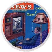 Predicting Television At Home, Radio Round Beach Towel